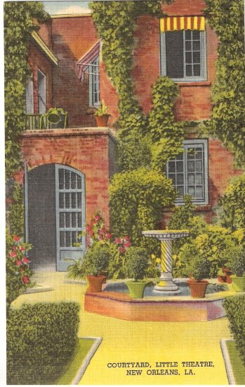Courtyard, Little Theatre, New Orleans, LA postcard vintage