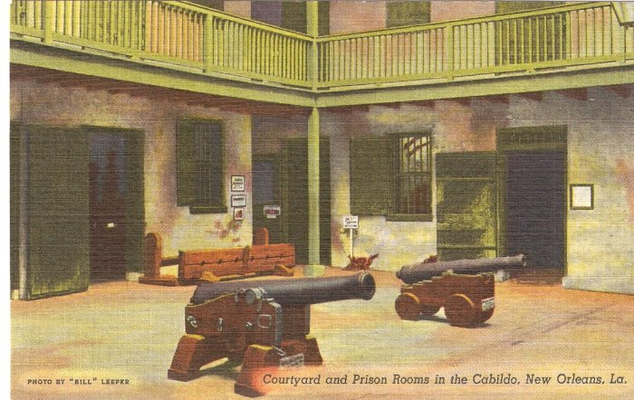 Courtyard & Prison Rooms in Cabildo, New Orleans, LA postcard vintage