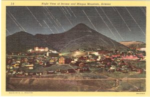 Night View of Jerome and Mingus Mountain Arizona postcard vintage