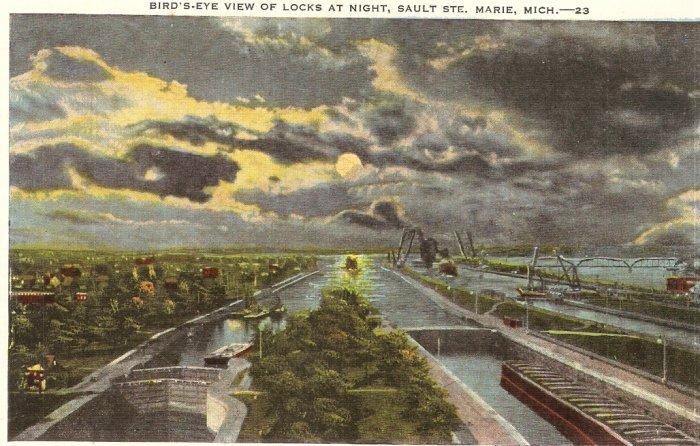Bird's Eye View Locks Sault Ste Marie Michigan vintage postcard