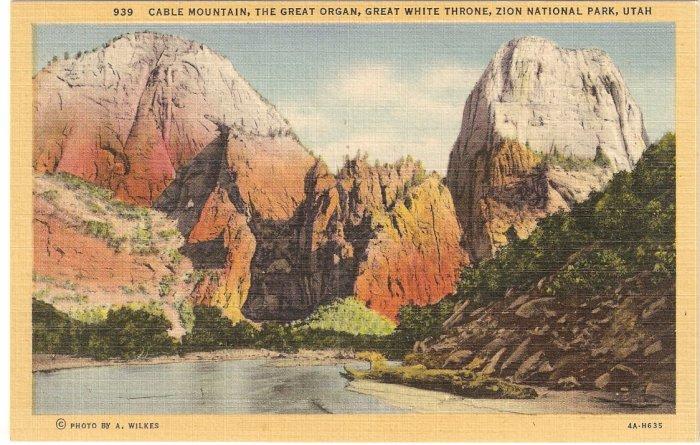 Cable Mountain Great Organ Throne Zion Utah postcard vintage
