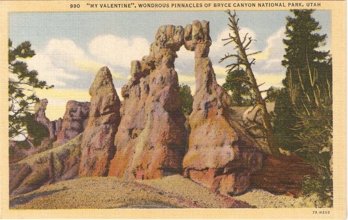 My Valentine Wondrous Pinnacls Bryce Canyon Utah postcard vintage
