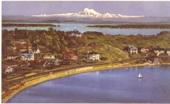 Victoria B.C. Mount Baker from Shoal Bay postcard