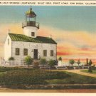 Old Spanish Lighthouse Point Loma San Diego, CA vintage postcard