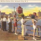 Fishing off the Million Dollar Pier Atlantic City NJ postcard