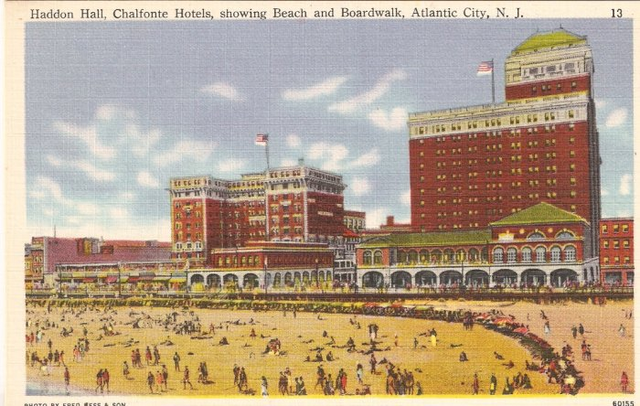 Haddon Hall Chalfonte Hotels Beach Boardwalk Atlantic City NJ postcard