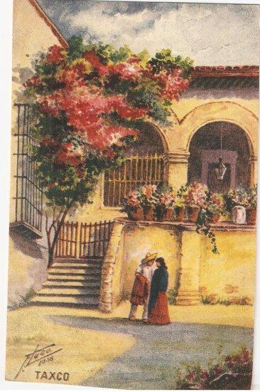 California Sales Tax Los Angeles >> Taxco No 2 Mexico Postcard vintage 1938 Hugo vintage courtyard