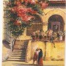 Taxco No 2 Mexico Postcard vintage 1938 Hugo vintage courtyard