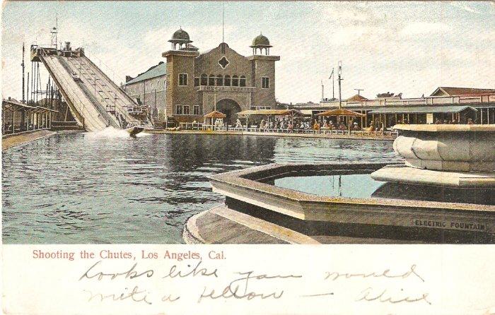 Shooting the Chutes Los Angeles CA 1905 vintage postcard