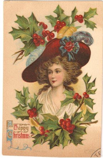 Happy Christmas vintage 1909 postcard