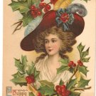 Happy Christmas vintage 1909 postcard