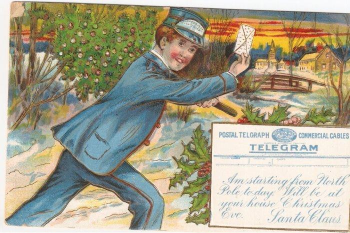 Postal Telegraph Commercial Cables postcard 1910 vintage Christmas
