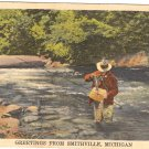 Smithville Michigan river fishing postcard vintage 1945