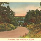 Osceola Iowa postcard vintage road 46947