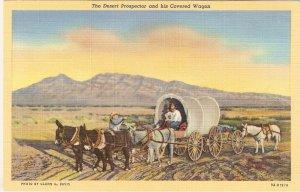 Desert Prospector Covered Wagon Glenn Davis postcard vintage