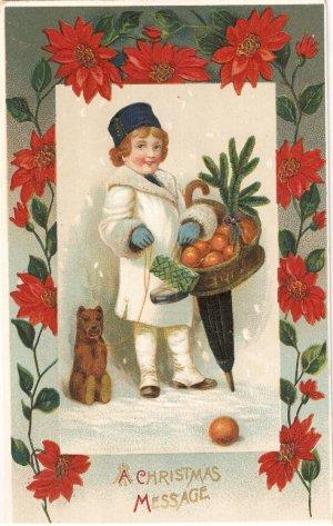 A Christmas Message vintage postcard 1911