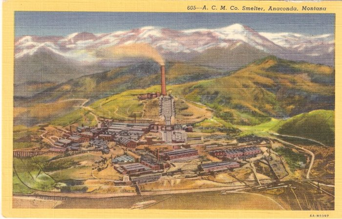 Smelter Anaconda Montana vintage postcard Big Stack ACM Co