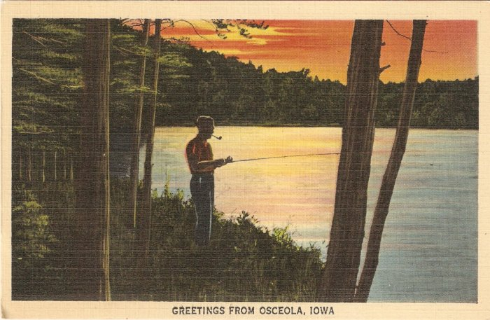 Osceola Iowa postcard vintage fishing lake