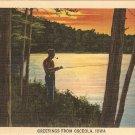 Osceola Iowa postcard vintage fishing lake
