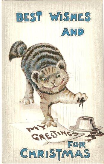 Christmas naughty cat vintage postcard 1911