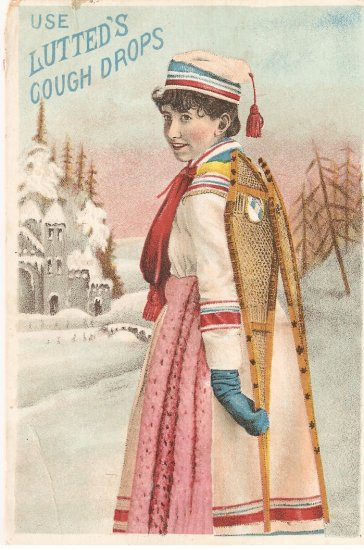 Lutted's Cough Drops Trade Card winter coat