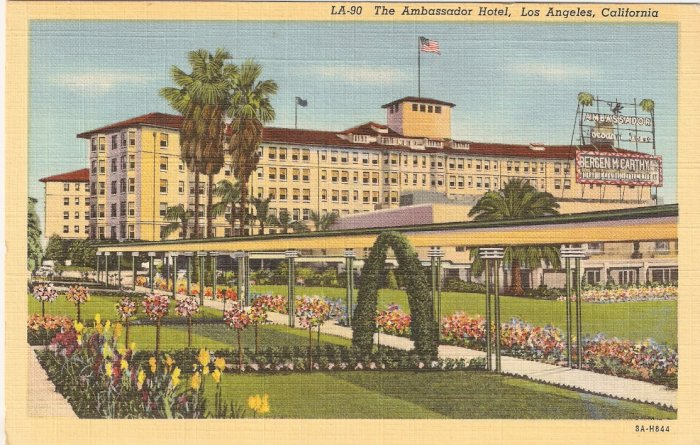 Ambassador Hotel Los Angeles California vintage postcard