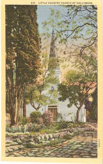 Little Country Church of Hollywood California vintage postcard
