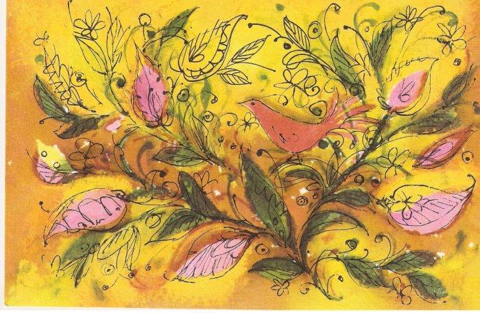 Hallmark orange birds flowers vintage postcard