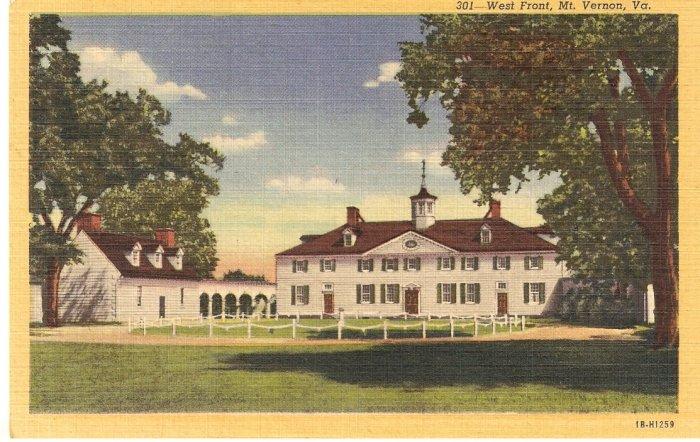 West Front Mt Vernon Virginia vintage postcard
