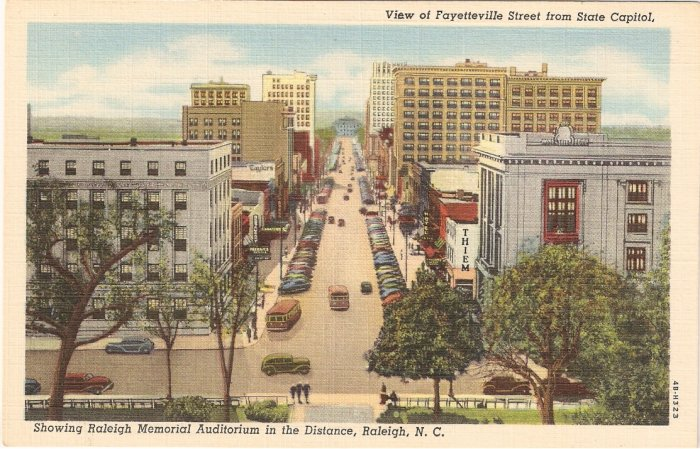 View of Fayetteville St Raleigh Memorial Auditorium NC vintage postcard