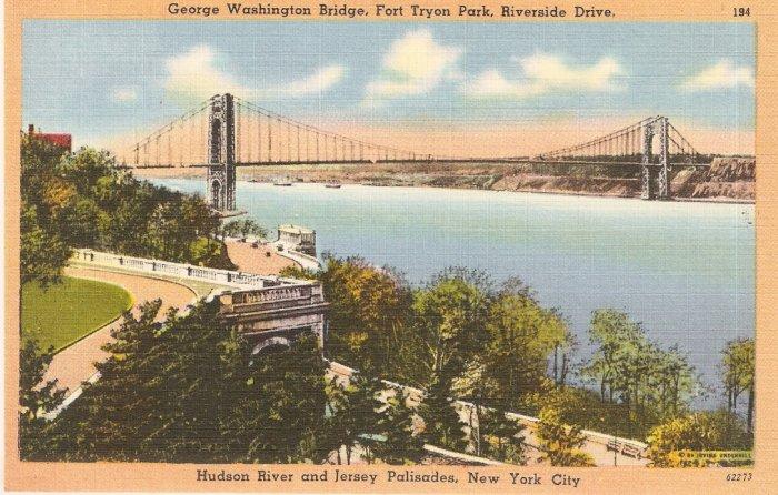 George Washington Bridge Ft Tryon Park NYC vintage postcard