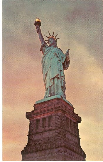 State of Liberty 1964 New York City Island vintage postcard