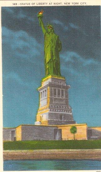 State of Liberty At Night New York City Island vintage postcard