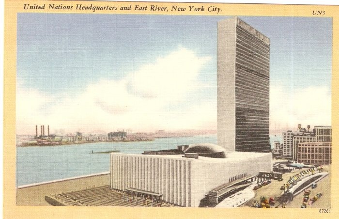 United Nations Headquarters UN HQ New York City vintage postcard