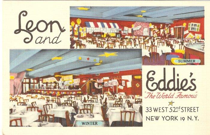 Leon & Eddie World Famous New York vintage postcard