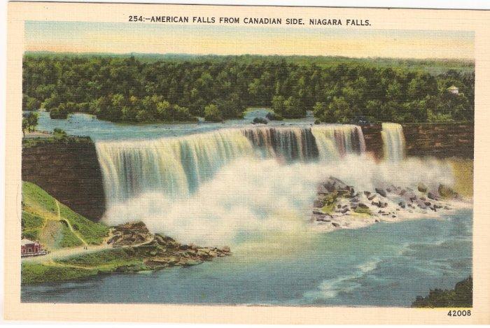 American Falls from Canadian Side Niagara Vintage Postcard
