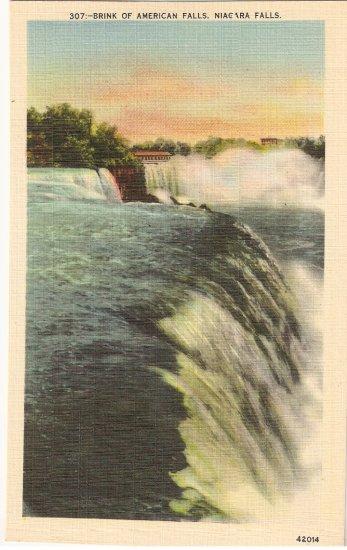 Brink of American Falls, Niagara Falls Vintage Postcard