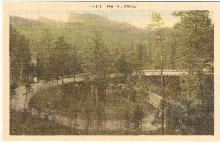 Pig Tail Bridge Black Hills South Dakota vintage postcard