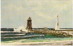 Charlevoix Pier Lighthouse Lake Michigan vintage postcard