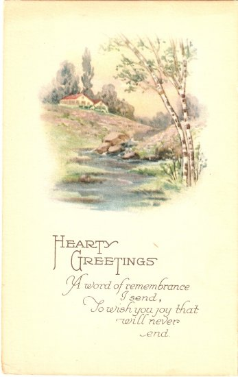 Hearty Greetings vintage postcard