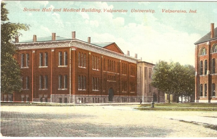 Science Hall Medical Building Valparaiso University Indiana vintage postcard