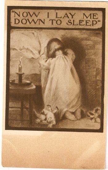 Now I Lay Me Down To Sleep Katherine Gassaway 1911 vintage postcard