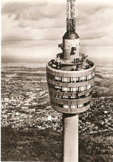 Stuttgart Fernsehturm Germany vintage postcard