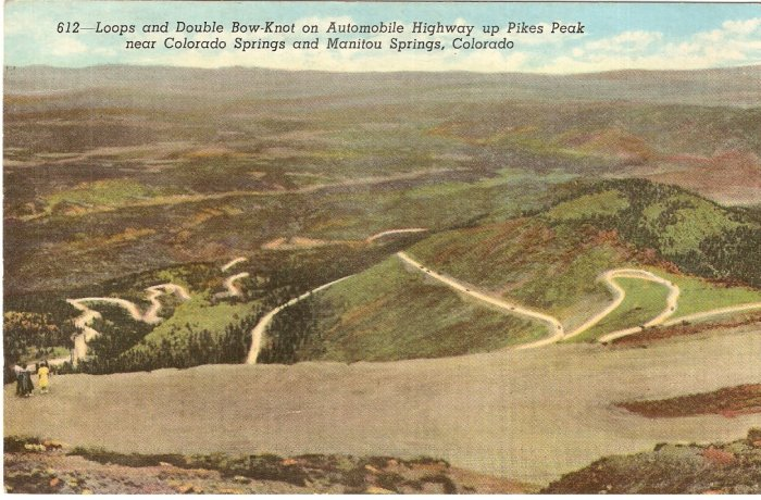 Automobile Highway Pikes Peak Colorado Springs Double Bow Knot vintage postcard