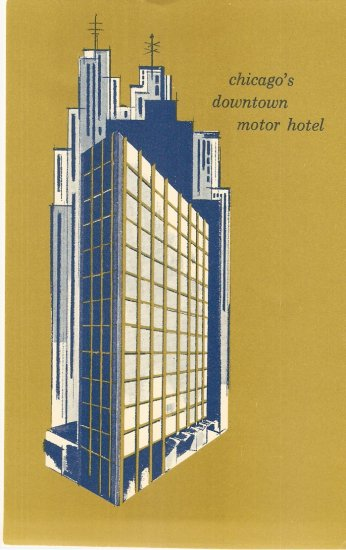 Chicago Downtown Motor Hotel Oxford House vintage postcard