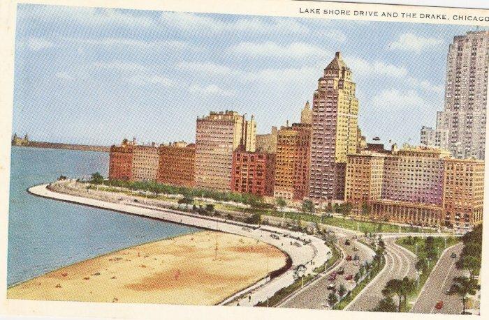 Lake Shore Drive and the Drake Chicago vintage postcard