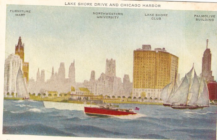 Lake Shore Drive Chicago Harbor vintage postcard