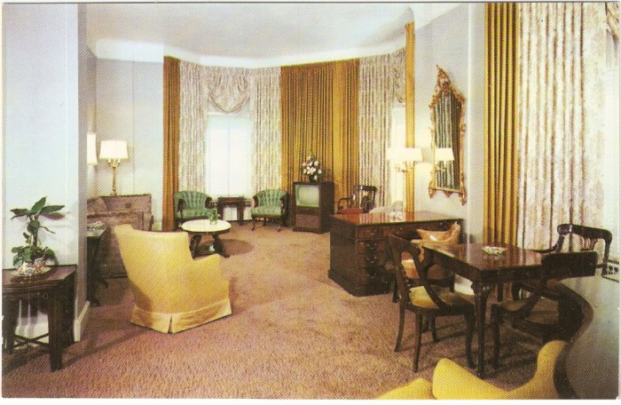 Living Room Presidential Suite Congress Hotel Chicago vintage postcard