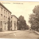 Greenwich Street Valparaiso Indiana vintage postcard