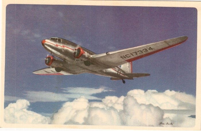 American Airlines AA NC17334 Route Flagships vintage postcard